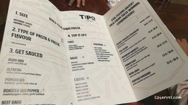 Tipo - Menu Halal Pasta bar in singapore