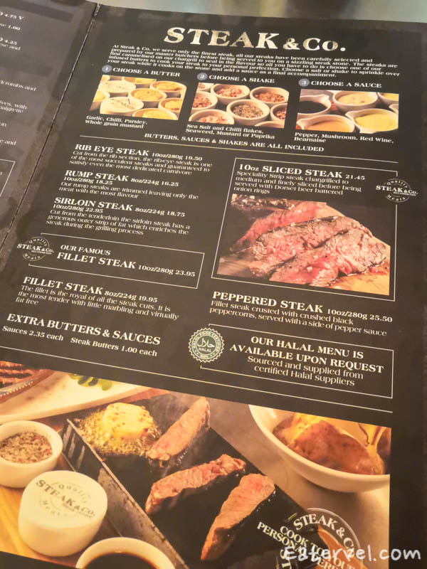 Menu Steak & Co. Leicester Square Charing Cross Halal sizzling hot steak stone